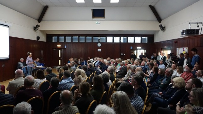 Meeting on earthquakes and unconventional drilling, Breare Village Hall, 18 May 2019. Photo: Jon O'Houston