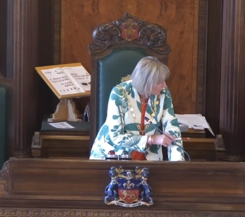 Cllr Susie Charles, 23 May 2019. Photo: Lancashire County Council webcast