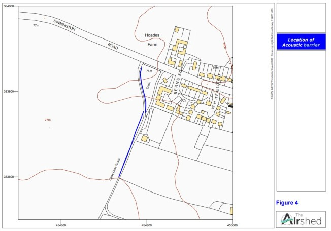 Blue line marks the proposed noise barrier. Source: Ineos inquiry document