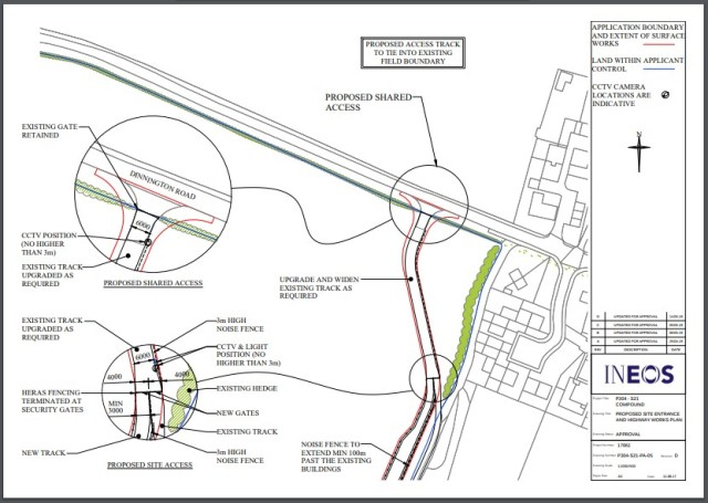 Revised plans for the Woodsetts site entrance and a noise barrier. Source: Ineos proof of evidence to the public inquiry