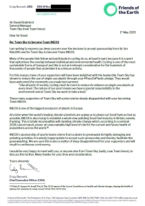 FOE letter to Dave Brailsford