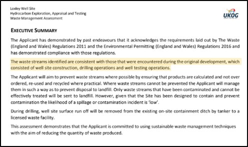 Extract from executive summary of waste management assessment for Dunsfold planning application