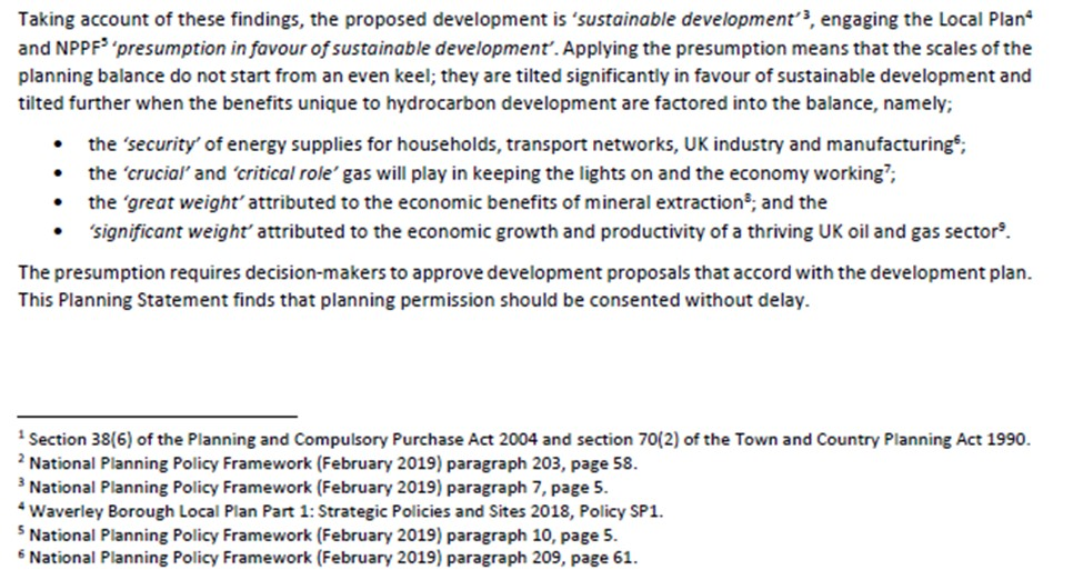 Extract of planning statement on NPPF