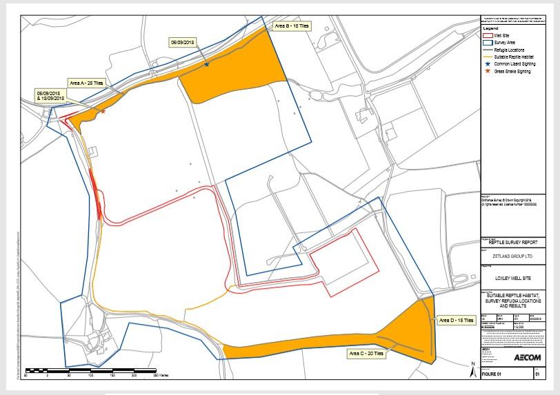 Map of reptile survey UKOG