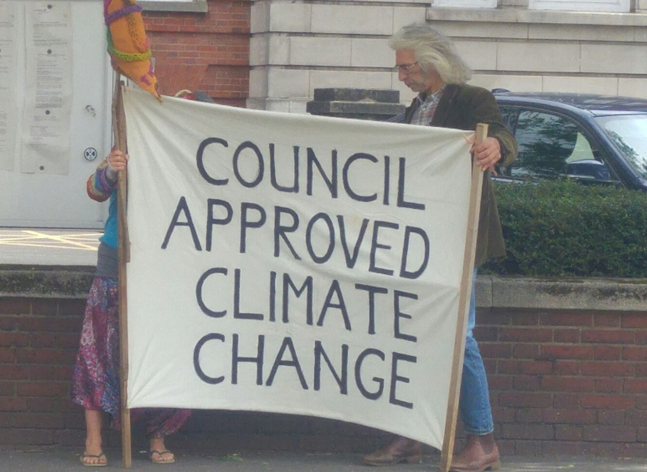 Campaigners outside Lincolnshire County Council, 1 July 2019. Photo: DrillOrDrop