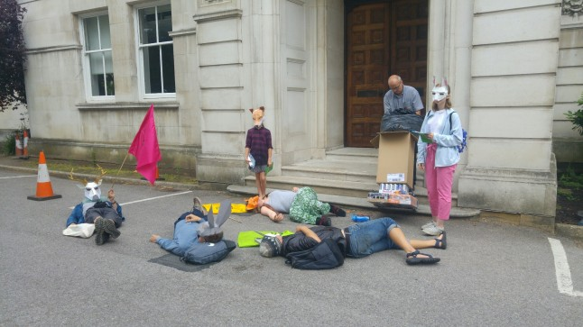 """Climate die-in"" outside Surrey County Council, 9 July 2019. Photo: DrillOrDrop"