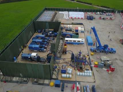 Cuadrilla's shale gas site at Preston New Road preparing to resume fracking, 21 July 2019. Photo: Debs Jackson