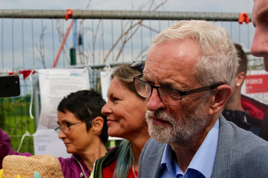 Labour leader, Jeremy Corbyn, meets campaigners outside Cuadrillla's Preston New Road shale gas site, 30 July 2019. Photo: Refracktion