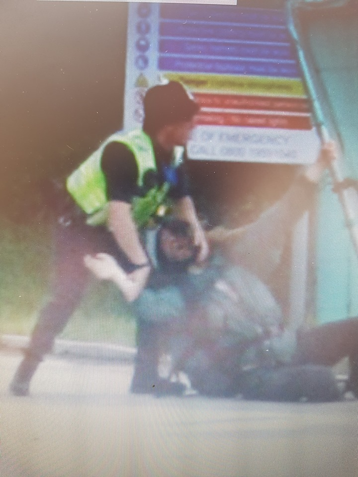 Arrest of protester outside Rathlin Energy's oil and gas site at West Newton. Photo: Lora Hughes