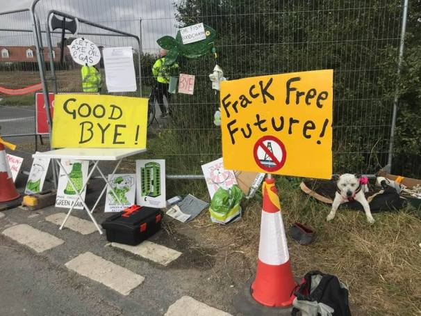 Protest posters at the roadblock outside Rathlin Energy's wellsite in East Yorkshire, 28 August 2019. Photo: Gail Leach