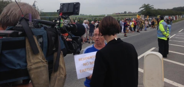 Campaigners outside Cuadrilla's shale gas site at Preston New Road near Blackpool, 26 August 2019. Photo: Used with the owner's consent