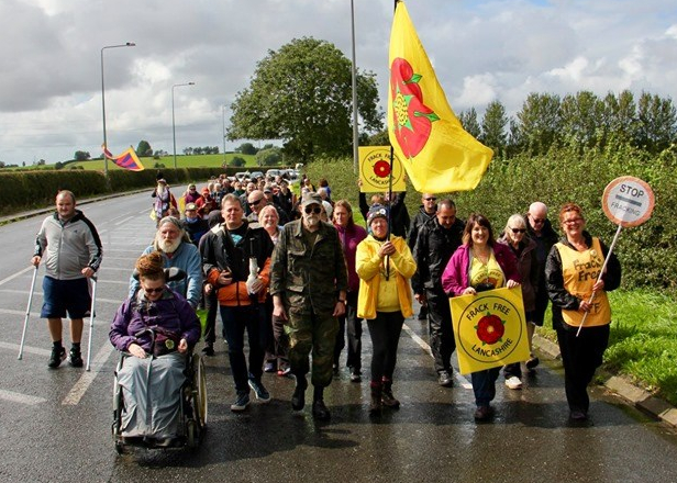 Campaigners at rally outside Cuadrilla's Preston New Road fracking site near Blackpool, 31 August 2019. Photo: Refracktion