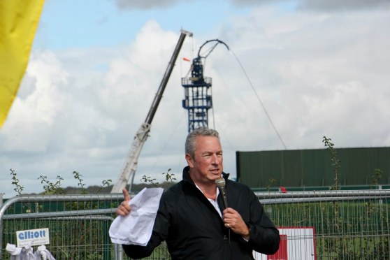 Businessman Mark Mills speaking outside Cuadrilla's fracking site at Preston New Road near Blackpool. on 31 August 2019. Photo: Refracktion