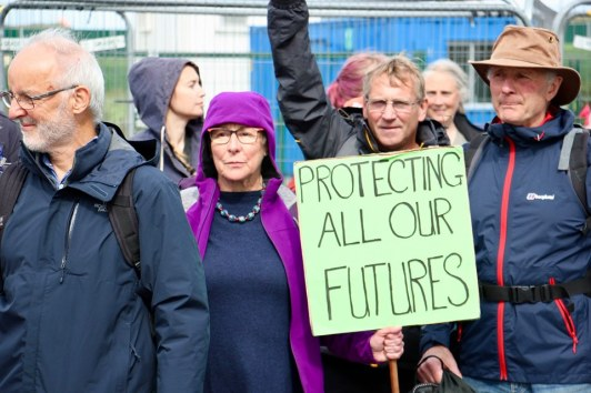 Campaigners at rally outside Cuadrilla's Preston New Road fracking site, 31 August 2019. Photo: Refracktion