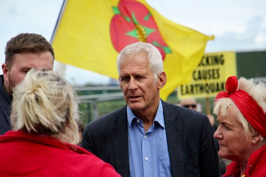Blackpool South MP Gordon Marsden at rally outside Cuadrilla's Preston New Road fracking site, 31 August 2019. Photo: Refracktion
