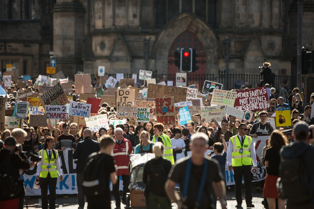 Scottish youths strike for the climate, during a global day of action, taking the day off school and educational establihments to protest the Government's inaction on the climate crisis, in Edinburgh, Scotland, 20th September 2019.
