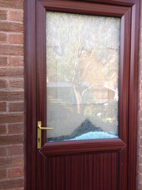 Shattered glass panel. Cuadrilla did not accept liability for the damage. Photo: Used with the owner's consent