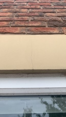 Crack attributed by householder to tremors caused by fracking at Cuadrilla's Preston New Road site in August 2019. Photo: used with the owner's consent