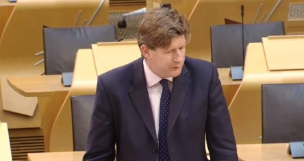 Alexander Burnett MSP, 3 October 2019. Photo: Scottish Parliament TV