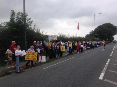 Campaigners outside Cuadrilla's shale gas site at Preston New Road near Blackpool. Photo: Ross Monaghan
