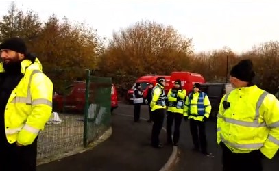 Eviction of anti-fracking New Hope protest camp, near Cuadrilla's Preston New Road site, 19 November 2019. Photo: still from live video by Mary Francis