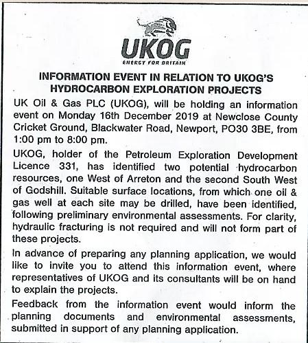 191130 UKOG notice in County Press
