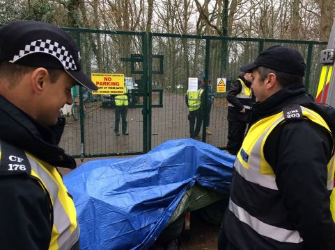 Lock-on protest outside UKOG's Horse Hill site in Surrey, 10 December 2019. Photo: Horse Hill Protection Group