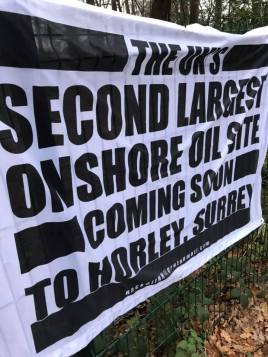 Protest banner outside Horse Hill oil site, 10 December 2019. Photo: Horse Hill Protection Group