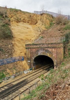 Network Rail workings at St Catherine's tunnel. Photo: Archaeology South East