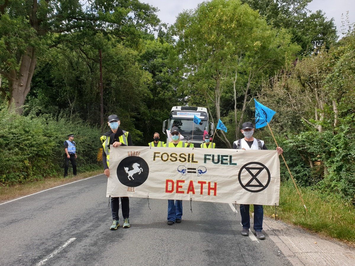 Opponents of drilling at UKOG's Horse Hill oil site in Surrey, 4 August 2020. Photo: XR South East